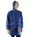 Blauwe regenjas met capuchon