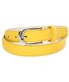 Gele lederlook riem 105 cm