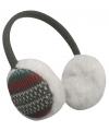 Grijze oorwarmers pluche met Nordic print