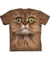 Kinder T-shirt bruine kat met groene ogen