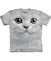 Kinder T-shirt witte kat met groene ogen