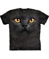 Kinder T-shirt zwarte kat met gele ogen