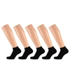 Zwarte dames sneakersokken/enkelsokken 5 x maat 36-41