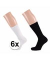 Zwarte en witte dames sokken pakket 6 paar